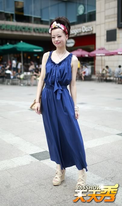 Remedy_Rouge_Chinese_Streetstyle_70s_Navy_Maxi_Dress_Red_Lipsshowzjolcomcn