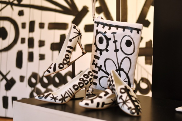 The Capsule Collection by Diederik Verbakel, featuring black and white shoes and clutches. Not for sale!