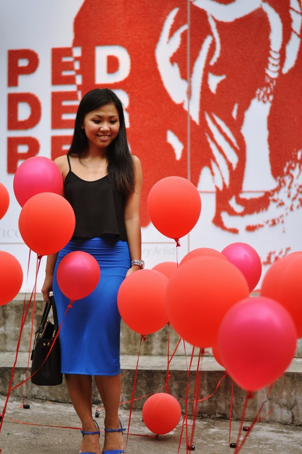 Me outside Chancery Gallery with the red balloons.
